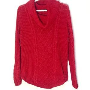 VTG Red cable knit cowl neck sweater-Jean Pierre L